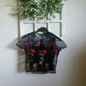 New w/o Tags - Blouse with Floral Overlay